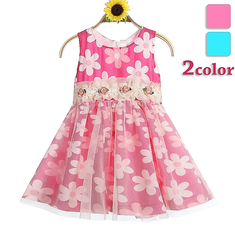 Wholesale Children cotton pink dresses for cute flower baby dress ...