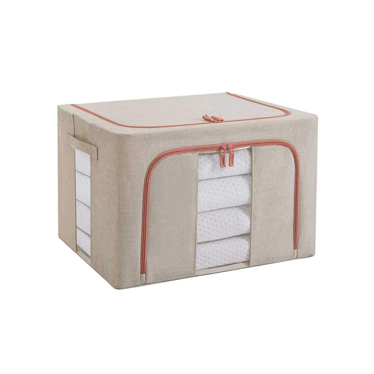 storage box Rectangular Cube, Cotton and Linen Art Storage Bin/Container with Zipper and Handle, Large Capacity Foldable Storage Basket with Steel Frames (Size : 66L)