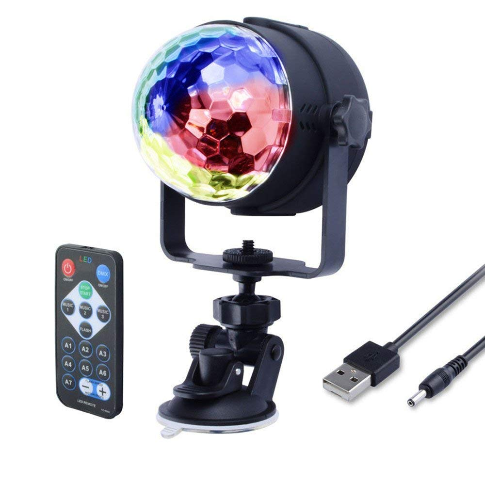 Party Lights Disco Ball Strobe Light 7 Colors Sound Activated Remote Control Mini Rotating Crystal Magic Ball with USB Cable for DJ Wedding Show Club Party Holiday Dancing Birthday by Baiyu