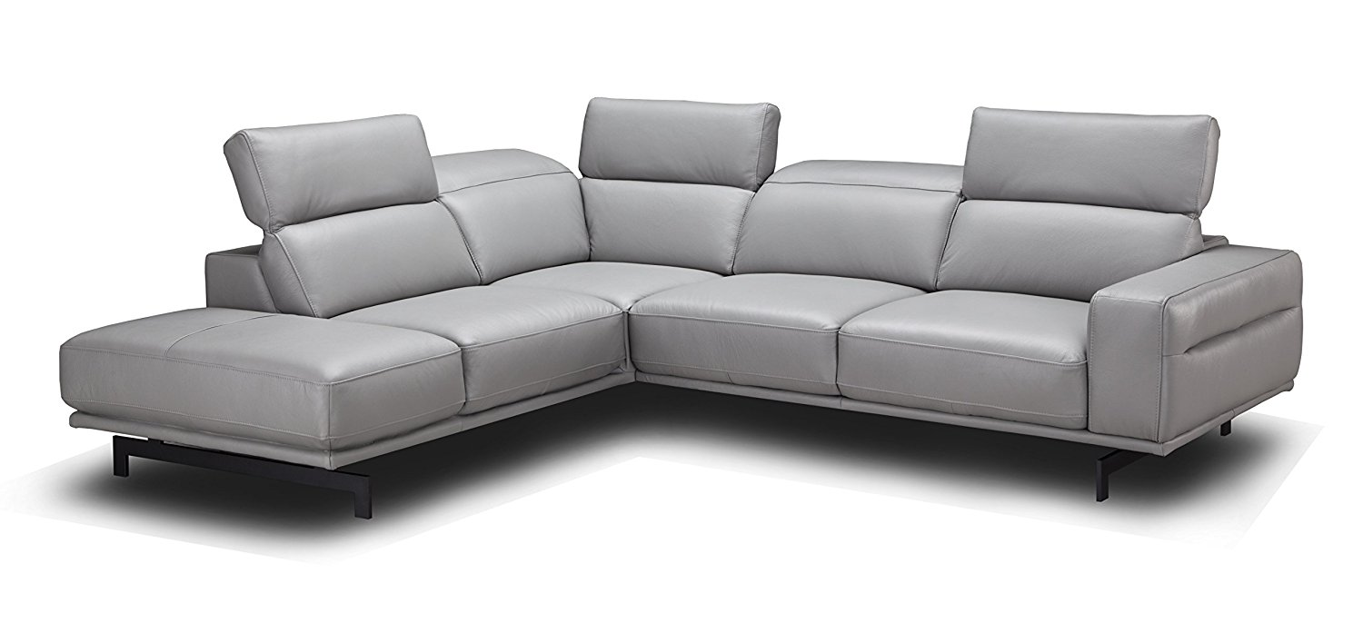 J and M Furniture 17981-LHFC Davenport Light Grey Lhf Chaise Premium Leather Sectional Sleeper