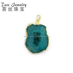 Agate Slice Pendant Natural Stone Jewelry Suppliers Gold Plating Crystal Gemstone Druzy Dyed Agates Blue Slices Charms Pendants