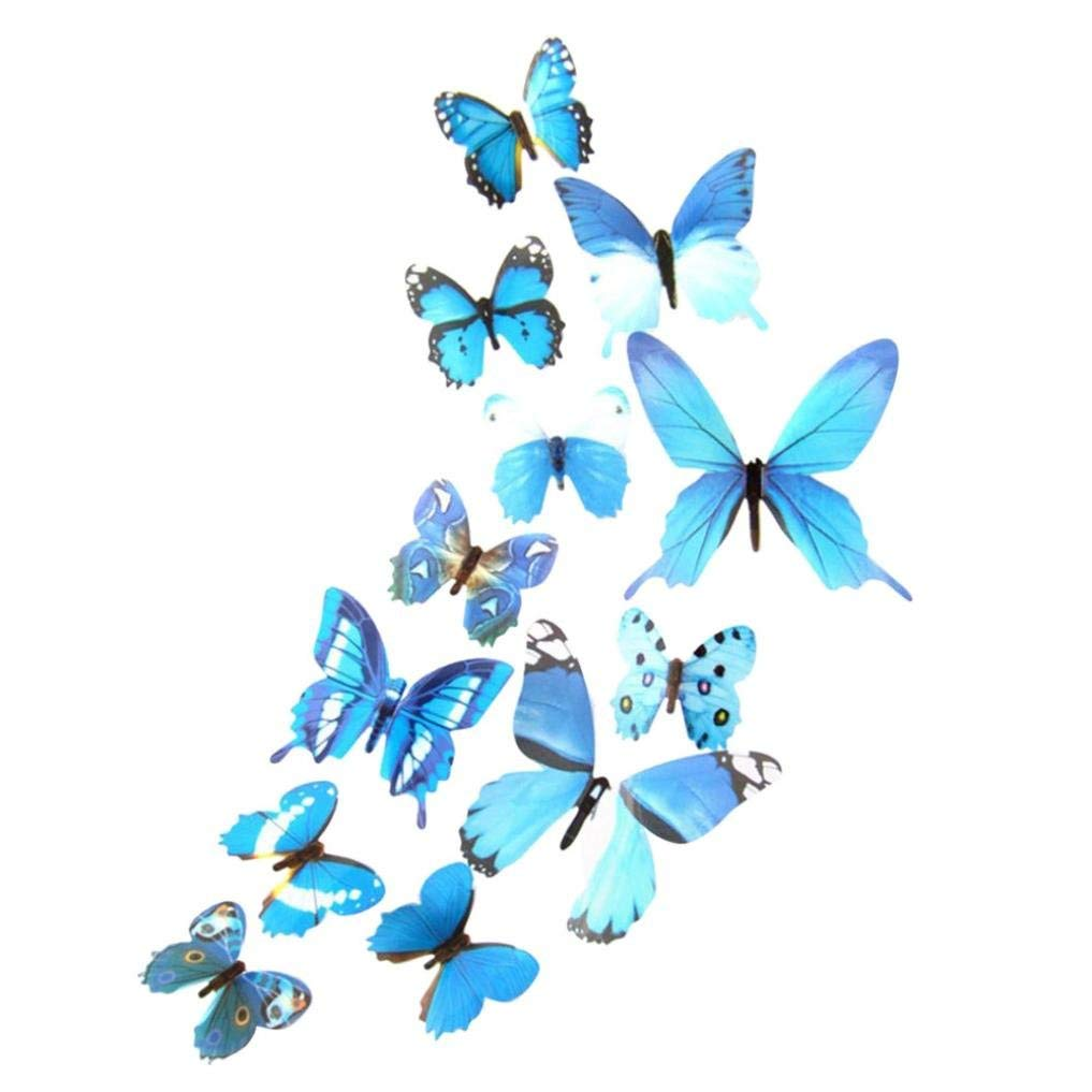 Vacally 12 Pcs Wall Art Decor 3D DIY Wall Sticker Stickers Butterfly Home Decor Room Decorations New For Kids