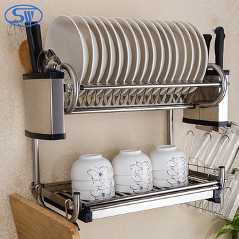 WDJ440-460 Guangzhou 2 tiers kitchen wall hanging stainless steel 201u0026304 dish rack & Wdj440-460 Guangzhou 2 Tiers Kitchen Wall Hanging Stainless Steel ...