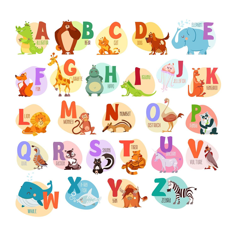 Delightful Animal Wall Decals, Animal Alphabet Wall Decals,Letter Wall Decals,Alphabet Wall  Decals