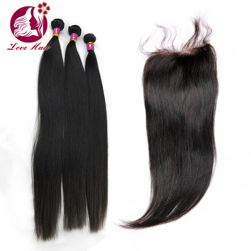 Alibaba Wholesale Cheap 3pcs/Lot Silky Straight 100% Unprocessed Virgin Brazilian Hair Bundles With 4*4 Lace Closure