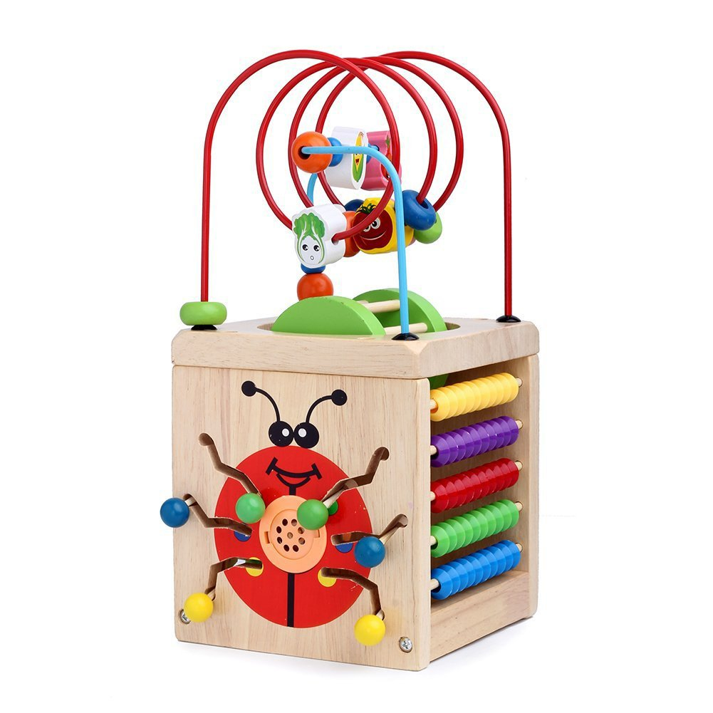 c961b0127efc7 Get Quotations · Sunshinetimes 7 in 1 Wooden Play Cube Activity Center  Colorful Wooden Circle Bead Maze Educational Toy