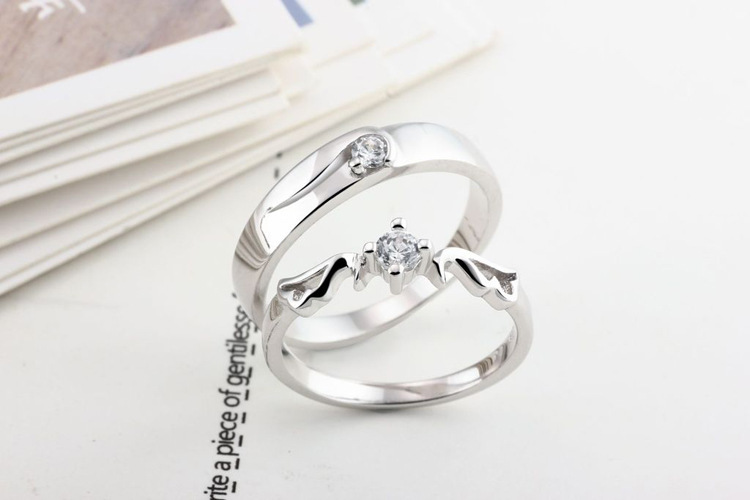 platinum plated cz crystal wedding ring factory direct wholesale silver couple rings - Crystal Wedding Rings