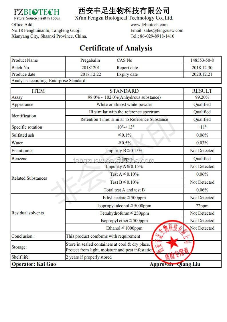 FZBIOTECH Free Sample Bulk Pregabalin, Medical Grade 99% Pregabalin 분말