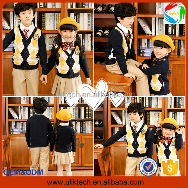 2016 Factory custom school uniform cardigan for sweater school uniform design wholesale (S005)