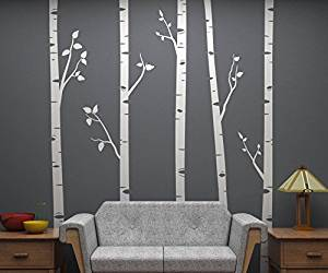 Set of 5 Birch Trees with Branches, 8 Feet Tall EACH! Full Wall Birch Tree Scape - Removable Vinyl Decals - Stickers for Home Decorating and Interior Design - Snow White