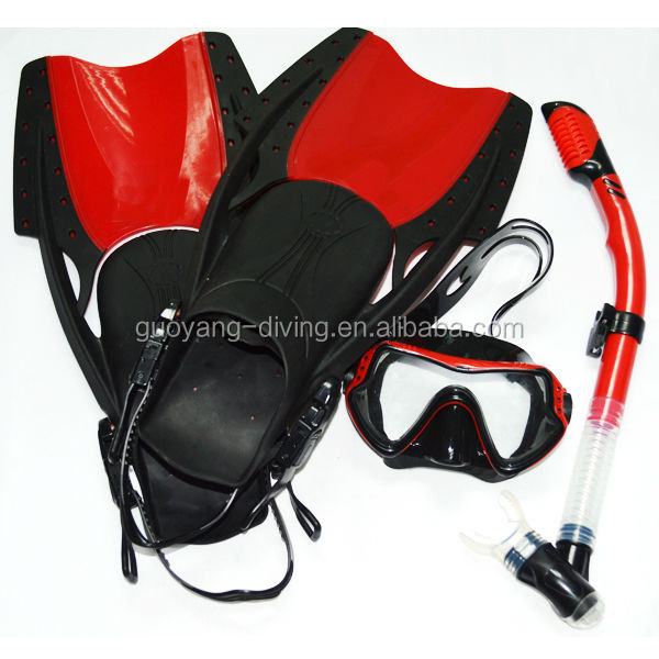 Professional adult snorke set panoramic dive mask dry snorkel fin set adjust fins wholesale