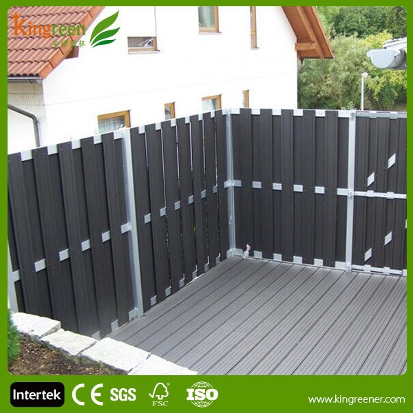 Wood plastic composite deck privacy screen with decking posts and deck post caps