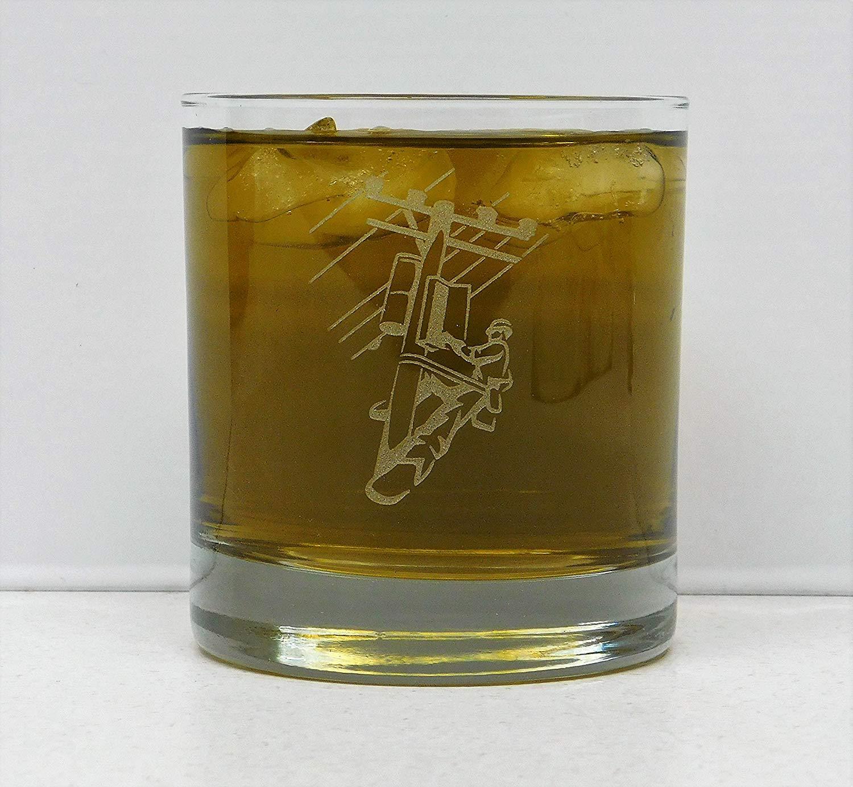 Lineman, Lineman whiskey glass, Lineman On The Rocks Glass, Lineman gift, Lineman birthday, Etched linemen glass, Electrician glass, Power pole, PGE, PPL, Avista, Telephone Lineman, Telephone