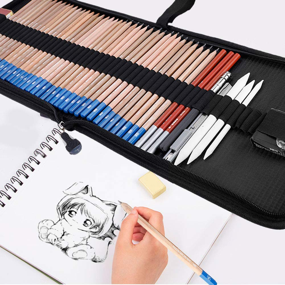48 Pieces Drawing Sketch Pencils Set, Full Draw Sketching Kit with Charcoal Pencil, Graphite Pencils, Pencil Knife, Eraser, White Paper Brush, Pencil Extender, Drawing Art Supply Set Ideal for Beginn