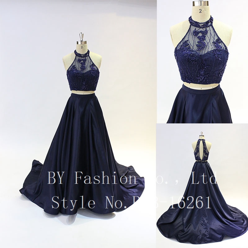 2017 Latest Design Top Lace Heavy Beaded Navy Blue Wedding Dress with Sweep Train