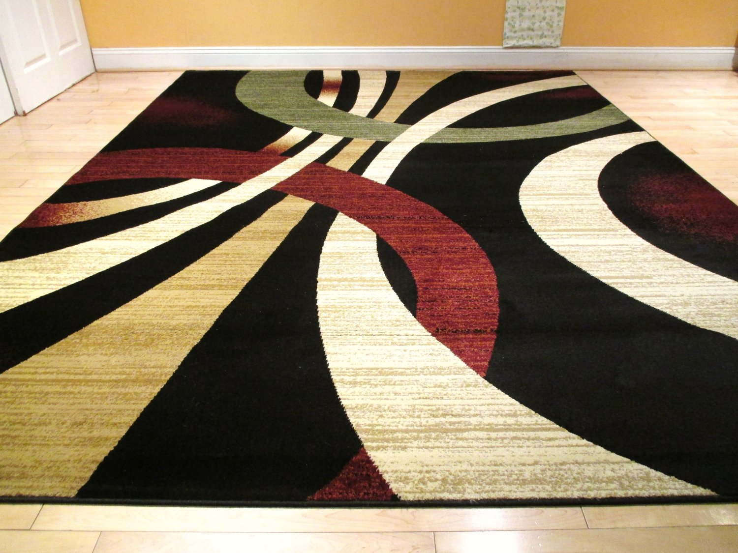 Get Quotations Large Black Modern Rug 8x11 Contemporary Style Wavy Circles Area 8x10 Brown Green
