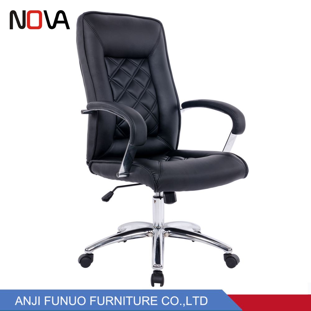 High Rise Ripple Black Office Leather Arm President Chair With Wheels