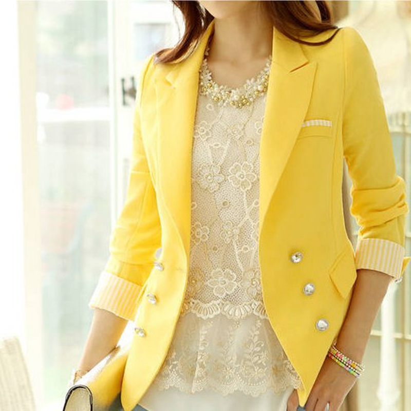 blazers femmes 2015 nouvelle manches longues slim femmes blazer blanc jaune orange femmes. Black Bedroom Furniture Sets. Home Design Ideas