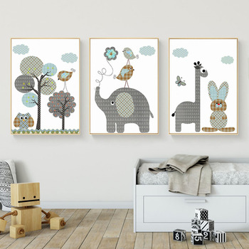 Giraffe Rabbit Animals Canvas Painting Nordic Cartoon Oil Pictures Wall Art Baby Nursery Rooms Poster Home Decor Unframed