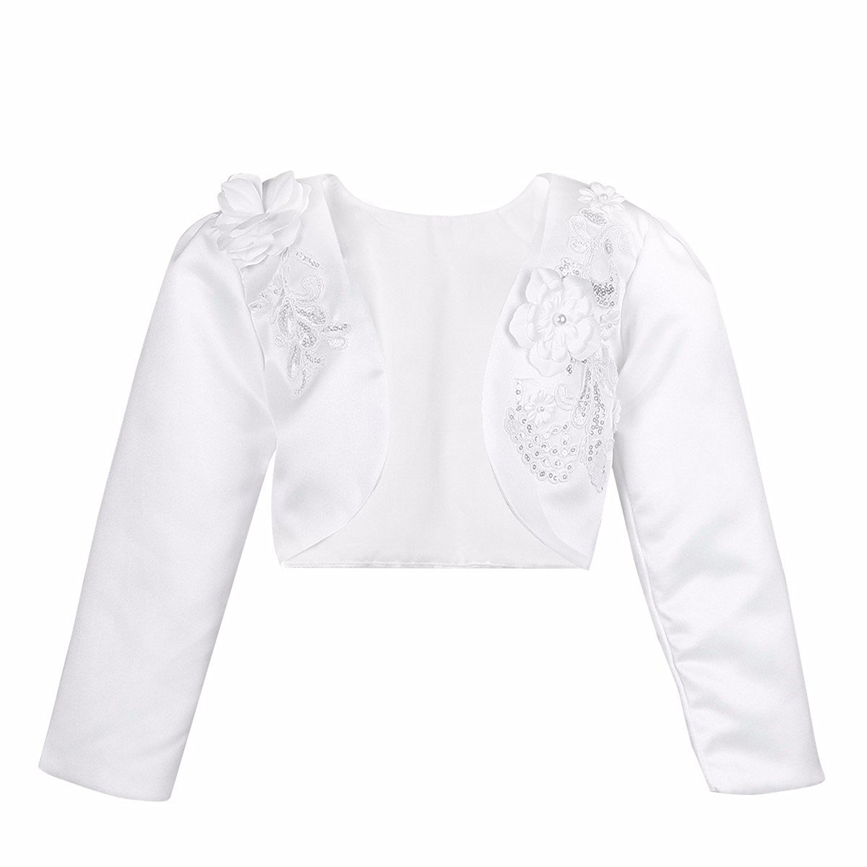 e6f328fda3e85 Get Quotations · FEESHOW White Kids Girls Long Sleeves Bolero Jacket Shrug  Short Cardigan Sweater Dress Cover Up