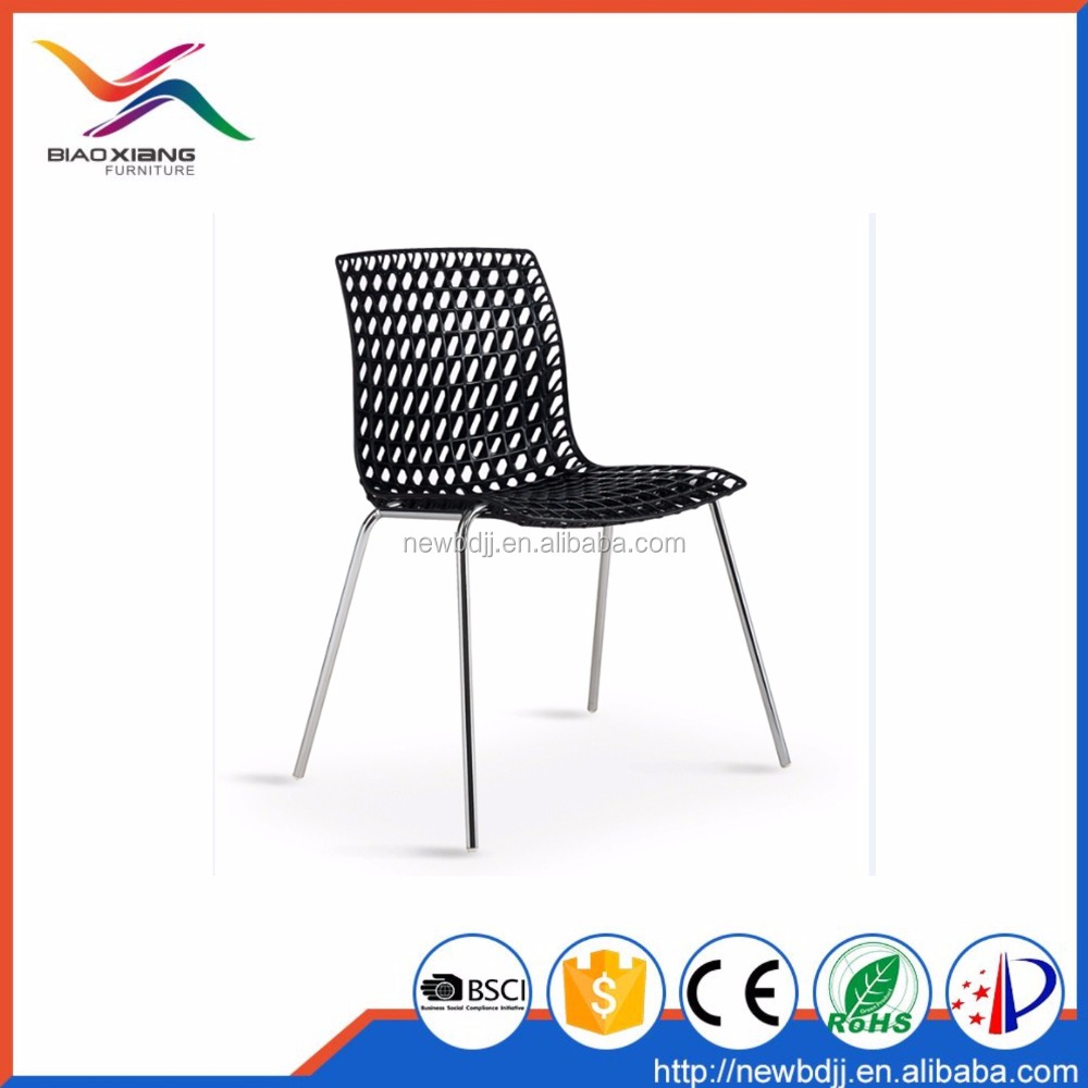 Wholesale Outdoor Restaurant PP Plastic Metal Stacking Dining Chair