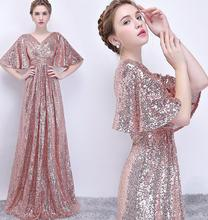 Graceful Lady Shiny Sequin Avondjurk Grote Mouwen Shiny Sequin Avondjurk