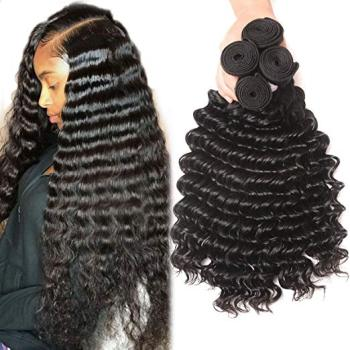 "Human hair weft, Free sample 7a 22"" mink brazilian deep wave hair piece virgin hair bundles"
