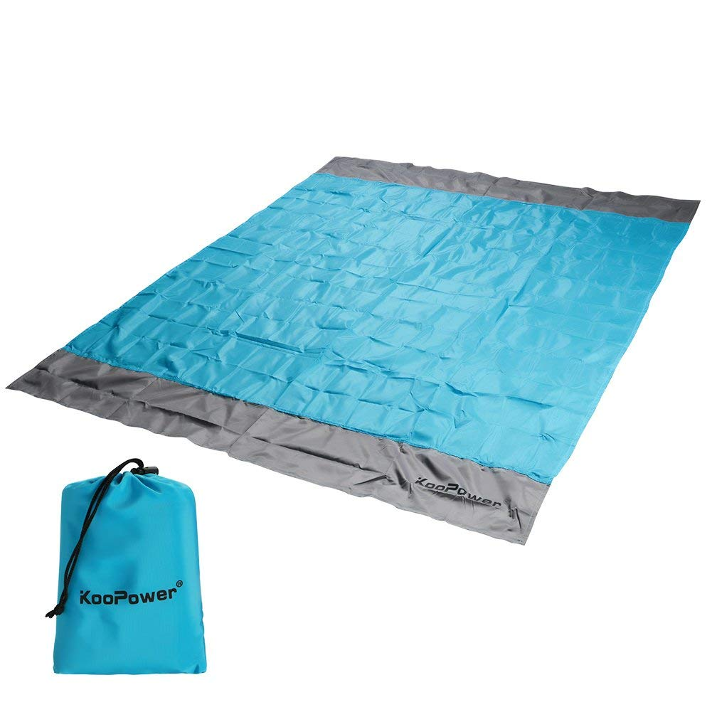 Koopower Sand FreeBeach/Picnic Blanket, 55″x67″ Compact Pocket Blanket, Waterproof Portable OversizedSand ProofPicnic Mat for Travel, Hiking, Camping, Festival, Sports (Blue)
