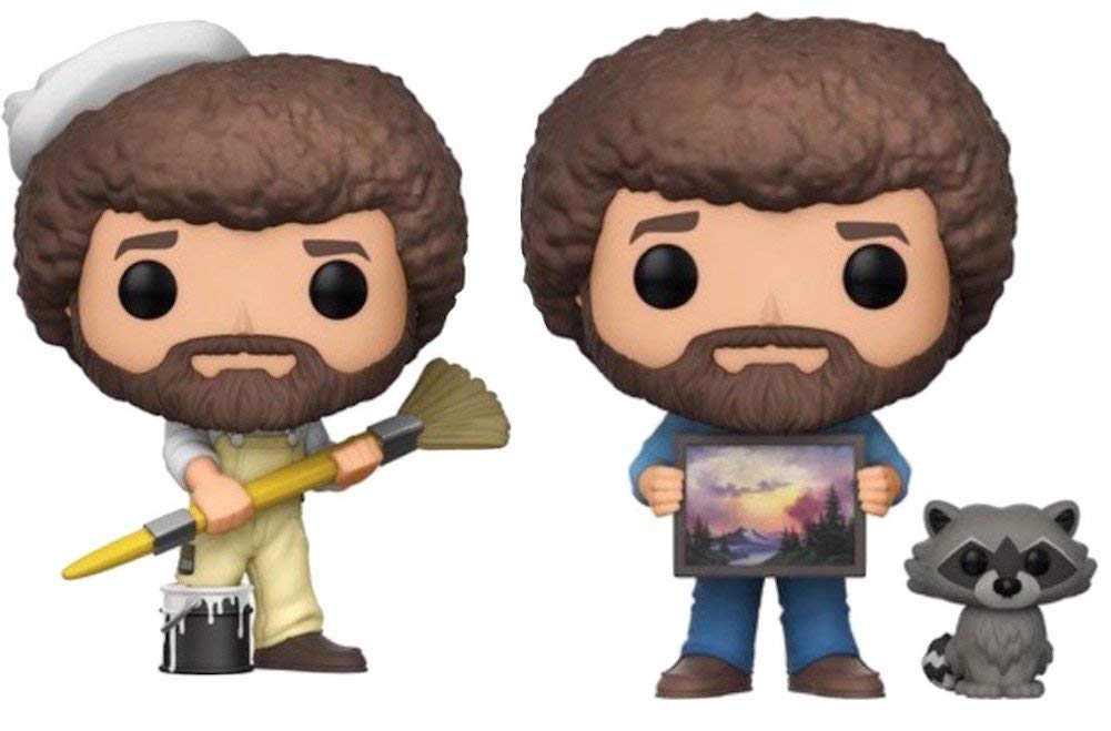 Funko POP! TV Bob Ross in Overalls and Bob Ross with Raccoon - Collectible Figure Set of 2