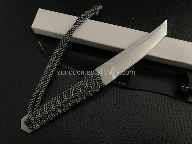 Stainless Steel Rope Wrapped Handle Tanto Full Tang Construction Katana Defender Knife Mini Japanese Knife