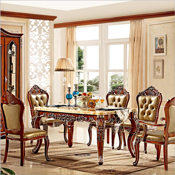 Luxurious Dining Room Sets: Antique Style Italian Dining Table, 100% Solid Wood Italy
