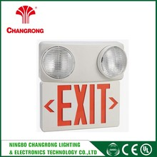 Wall or ceiling mounting UL 94V-0 flame rating two lamps exit sign light Combo