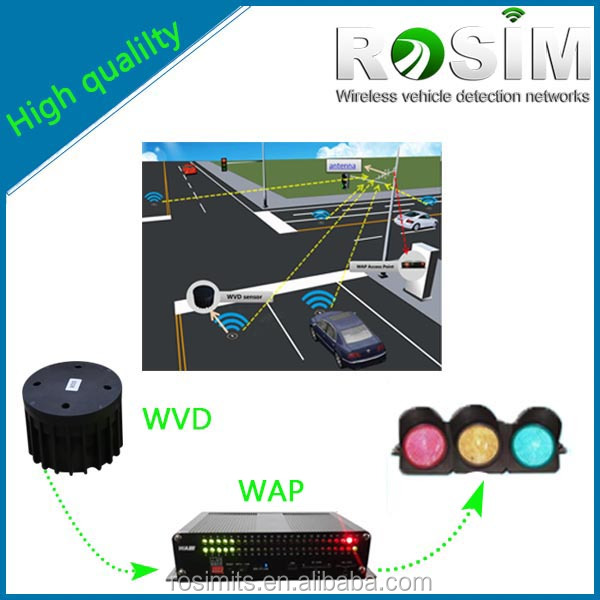 Rosim upgraded traffic detection wireless vehicle detector sensor for traffic road safety guidance system