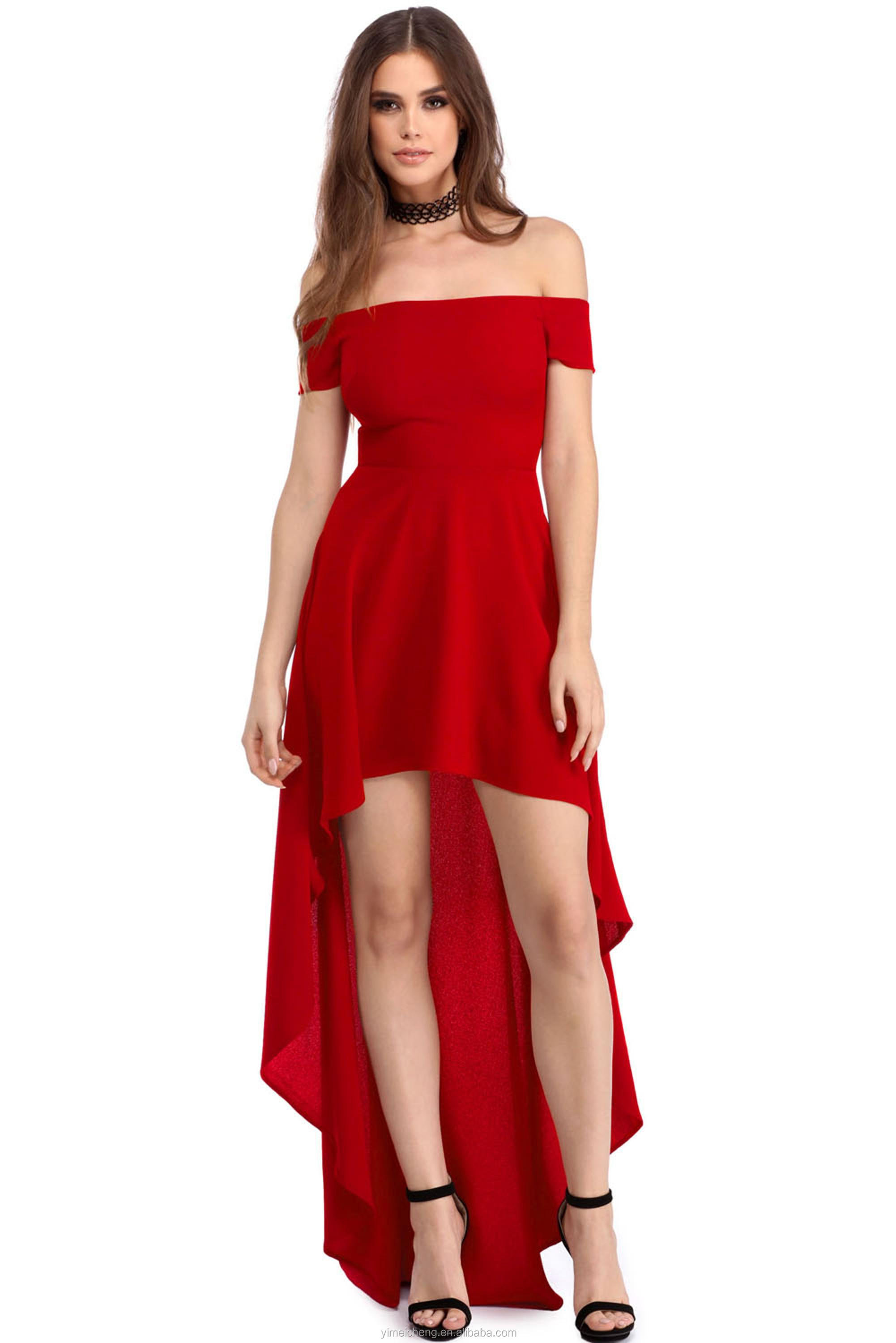 Short Front Long Back Hot Red Young Girls Party Gown Dinner Lady ...