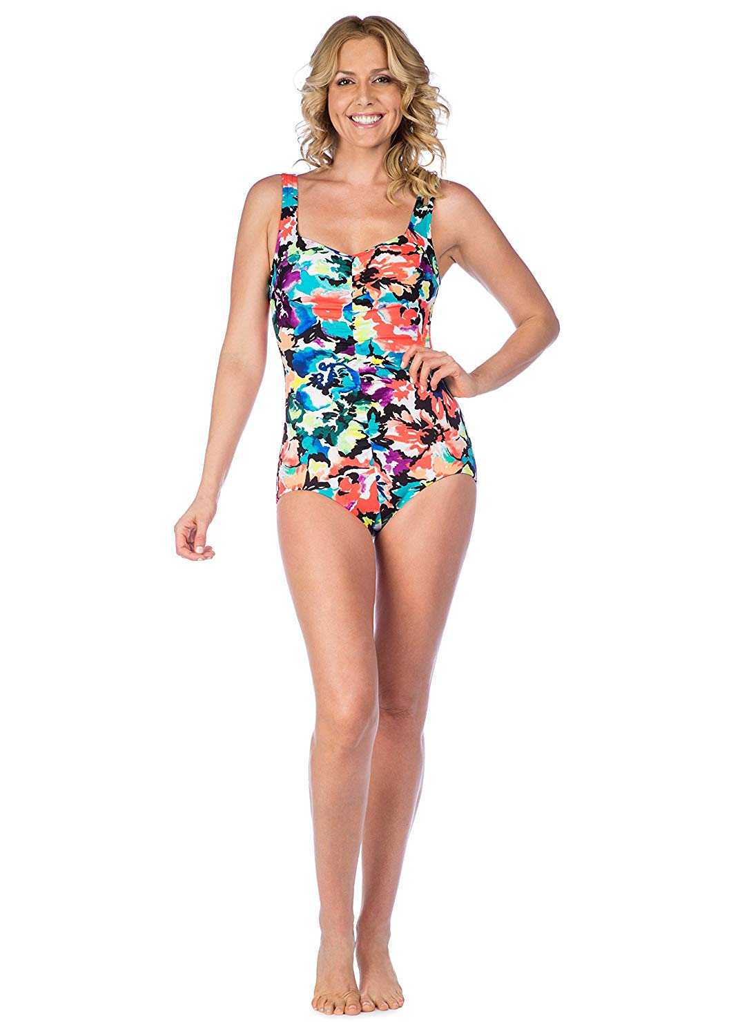 eed27eb9f7d95 Maxine Of Hollywood Women s Shirred Front Girl Leg One Piece Swimsuit