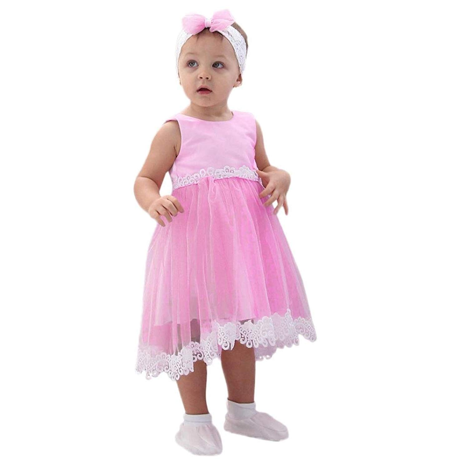 TiTCool Little Girls Princess Dress, Toddler Lace Hem Sleeveless Dress Size 2-6T