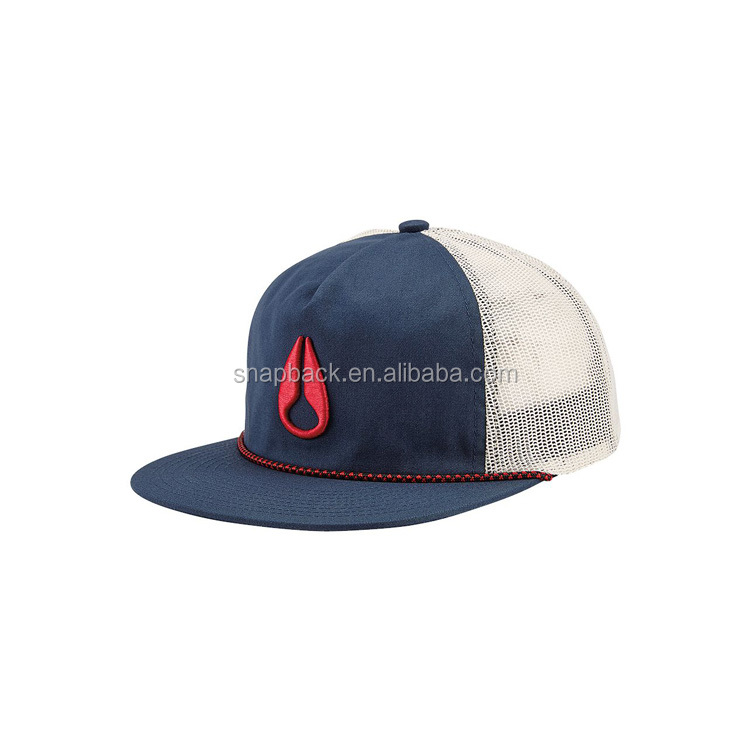 Custom 100% cotton snapback cap nylon puffed embroidery rope mesh trucker  hat with string 80b1b228d726