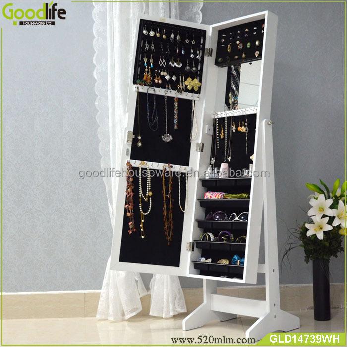 Goodlife Wall Mirror Makeup Organizer Box Wooden Makeup
