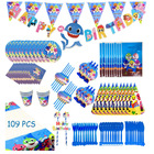 New print theme party disposable Kid boy shark party decorations supplies