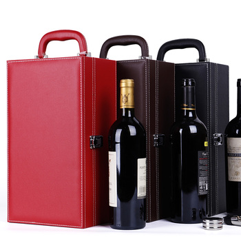 high quality custom logo PU leather wine box gift box for wine bottles box