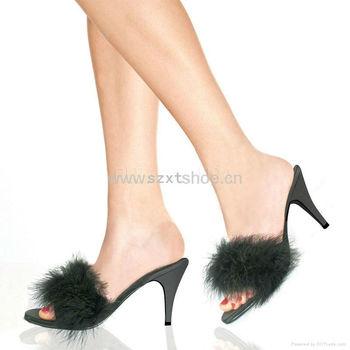 Sexy fur jelly heel high heel slipper for women sexy - Ladies bedroom slippers with heel ...