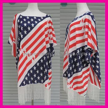 c3560f4e24b96 Hot-sale women chiffon beach swimwear ponchos bikini cover up red white  blue stripe american