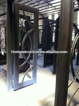 Wrought Iron Luxury Security Doors Tempered Glass Panel 2 Flat Panel Interior  Doors