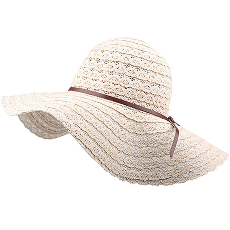 6b128661969 Foldable Cotton Beach Sun Hats for Women Beach Sun Hat Foldable Brimmed  Straw Hat