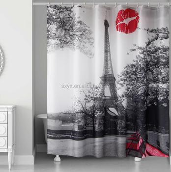 Waterproof Grey Paris Eiffel Tower Custom Bathroom Shower Curtain Cityscape Polyester Fabric Wholesale180X200cm