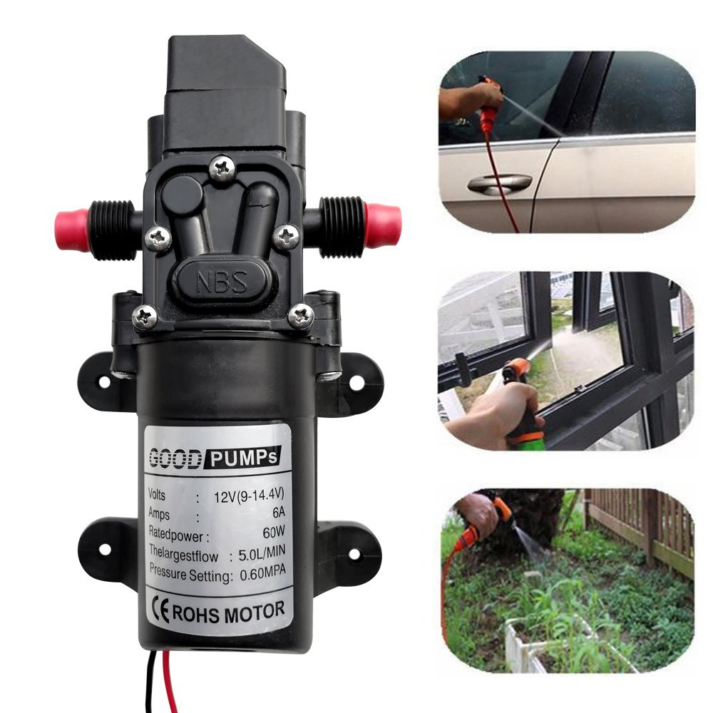 Boshen 12V DC 60W/70W Diaphragm Self Priming Water Pump Sprayer Electric with High Pressure 100/130 PSI 5L/Min 6L/Min for Garden Car Washer Caravan/Boat/Marine Boat RV Camper