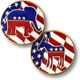 Donkey Elephant Red White Blue Flag Republican And Democrat Flip Challenge Coin