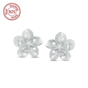 S925 Hawaiian Flower Stud Earrings 14k White Gold Small Plumeria