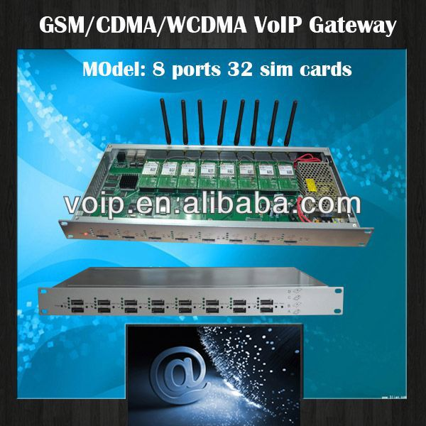 Tri band to repeater,8 channels 32 sim cards cdma voip gateway