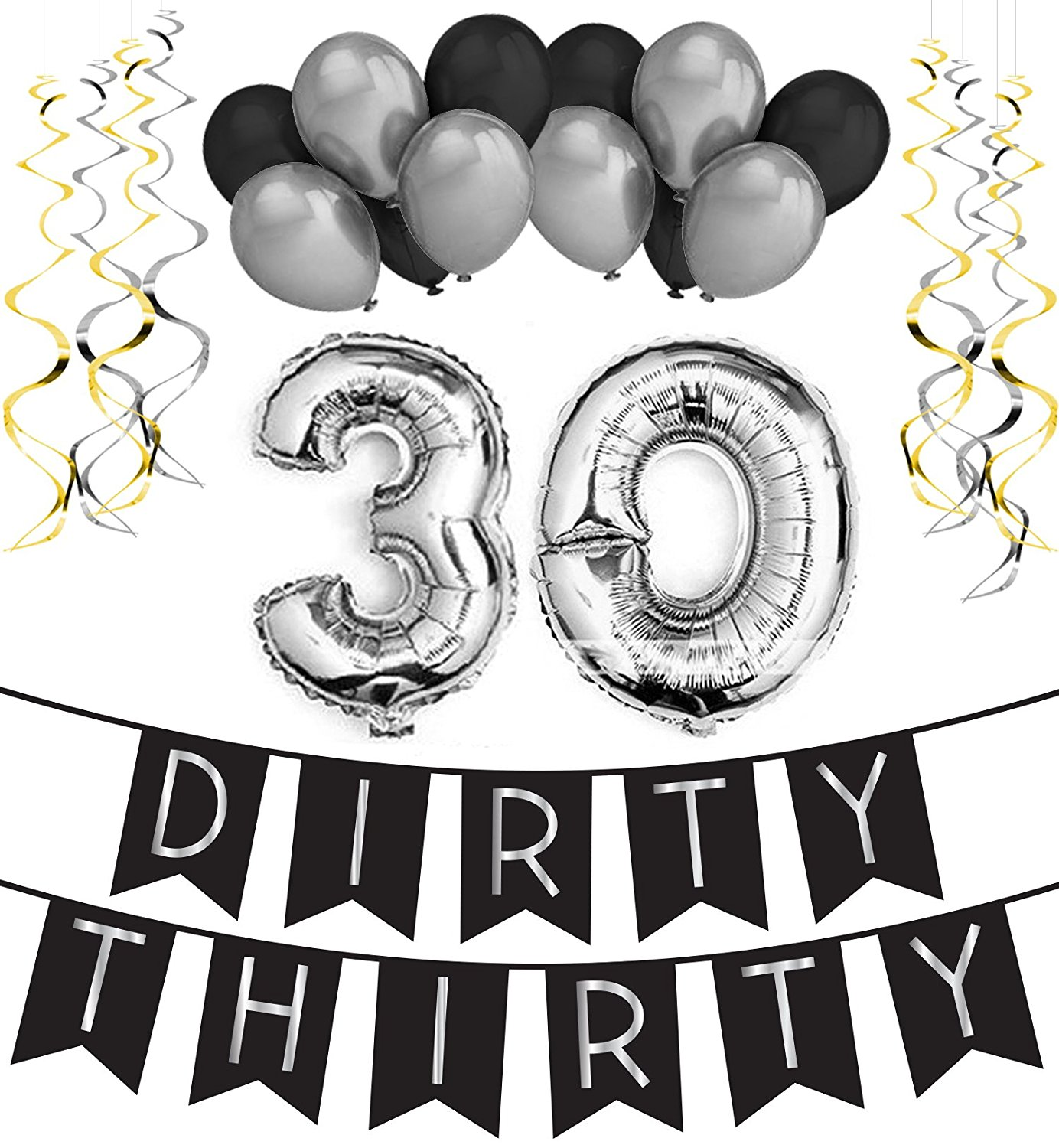 Sterling James Co. Dirty Thirty - 30th Birthday Party Pack – Black & Silver Happy Birthday Bunting, Poms, and Swirls Pack- Birthday Decorations – 30th Birthday Party Supplies